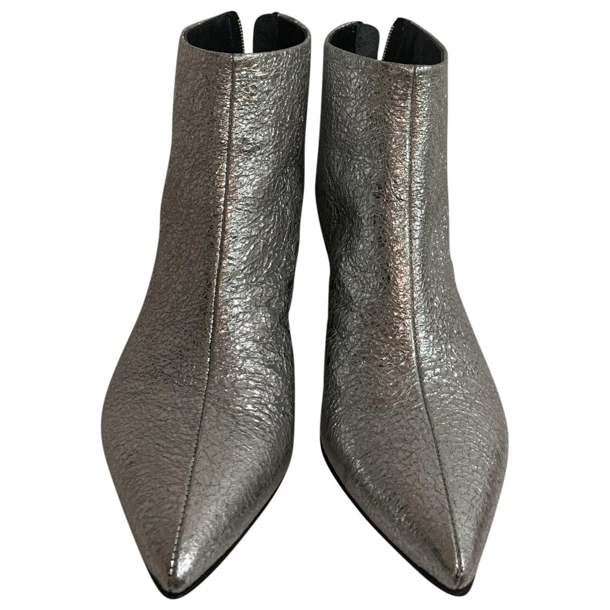 Aeyde - Boots   pour femme en cuir - metallise