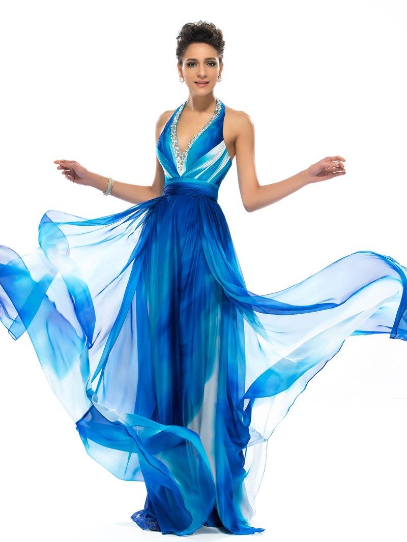 Ericdress Halter Beading Print Prom Dress