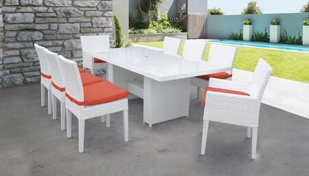 MONACO-DTREC-KIT-6ADC2DCC-TANGERINE Monaco 9-Piece Outdoor Patio Dining Set with Rectangular Table + 6 Side Chairs + 2 Arm Chairs - Sail White and