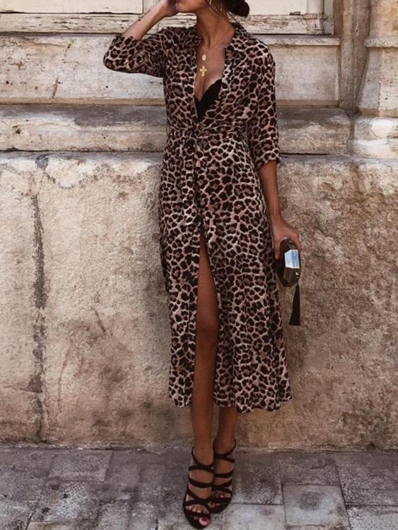 Ericdress Print Lapel Mid-Calf Date Night/Going Out Women's Dress