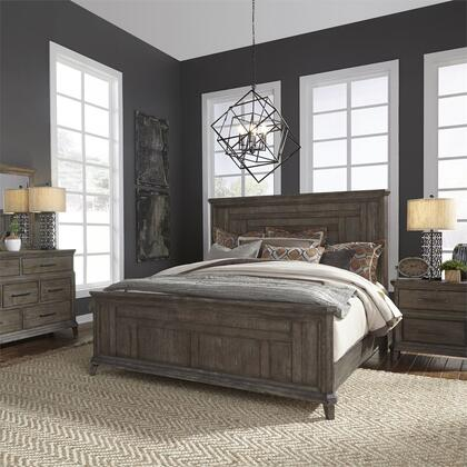 Liberty Furniture 823-BR-QPBDMN 4 Piece Bedroom Set with Queen Size Panel Bed  Dresser and Mirror  Nightstand in