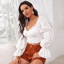 Gather Sleeve Zip Back Eyelet Embroidery Crop Top