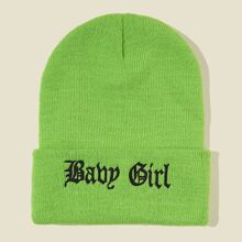 Letter Embroidered Beanie
