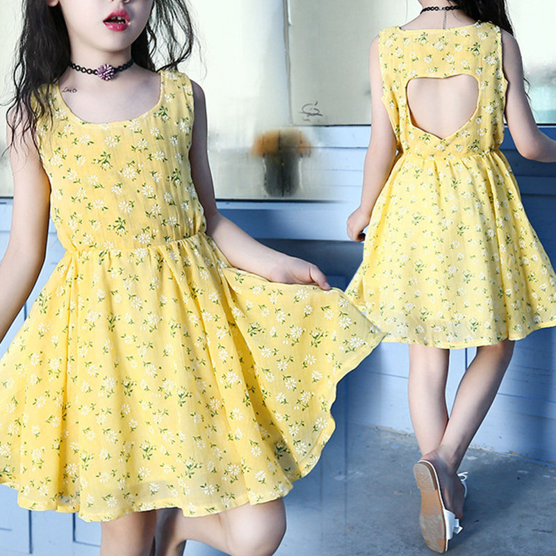 Heart Back Hollow Girls Sleeveless Floral Beach Party Casual Dress For 4Y-15Y