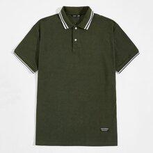 Ringer Polo Shirt mit Flicken Detail und Streifen