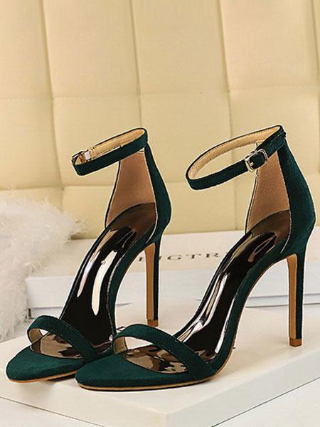 Milanoo High Heel Sandals Womens Open Toe Ankle Strap Stiletto Heel Sandals