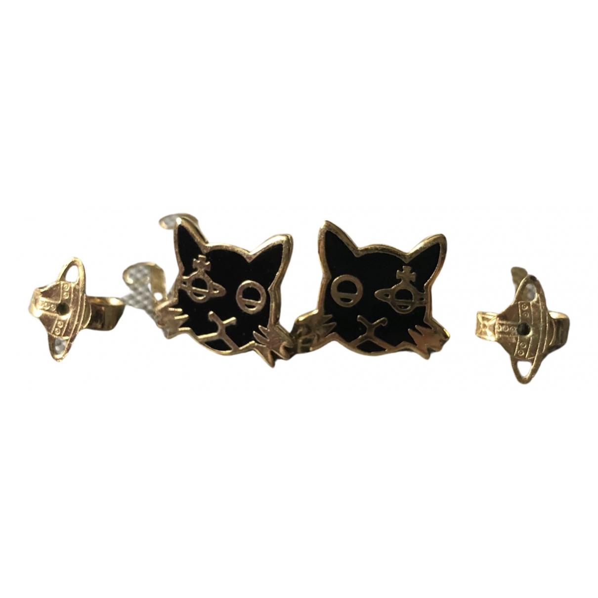 Vivienne Westwood \N OhrRing in  Schwarz Metall