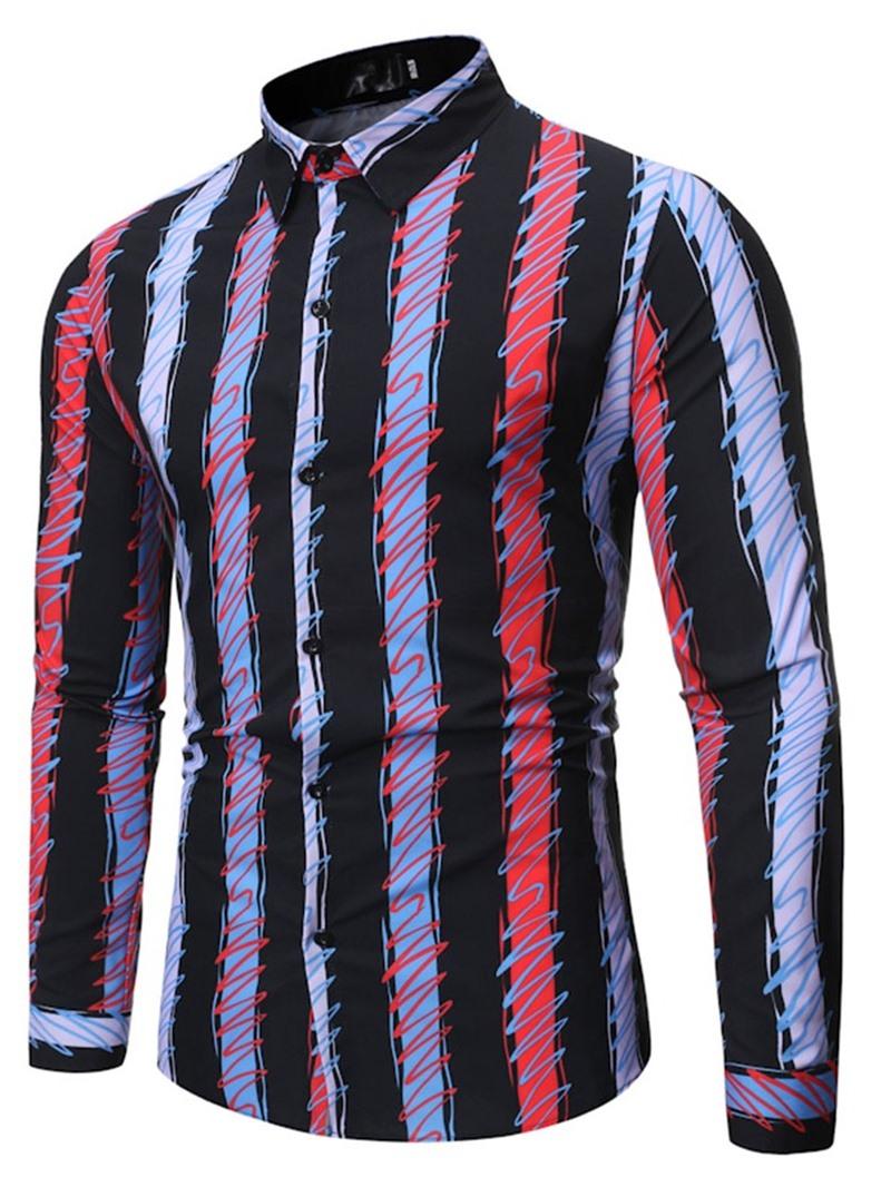 Ericdress Lapel Casual Stripe Single-Breasted Slim Shirt