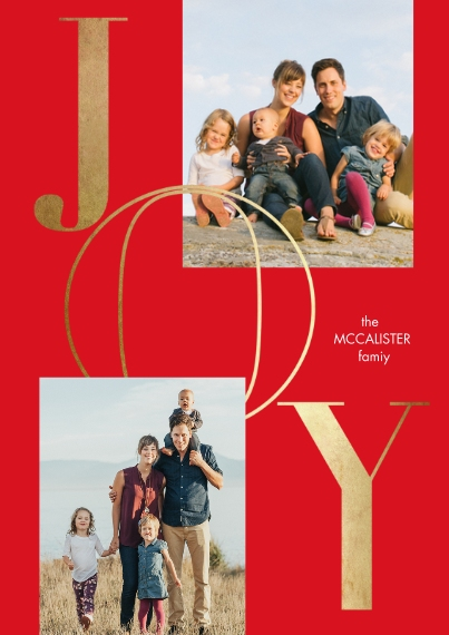 Holiday Photo Cards 5x7 Cards, Standard Cardstock 85lb, Card & Stationery -Gilded Joy