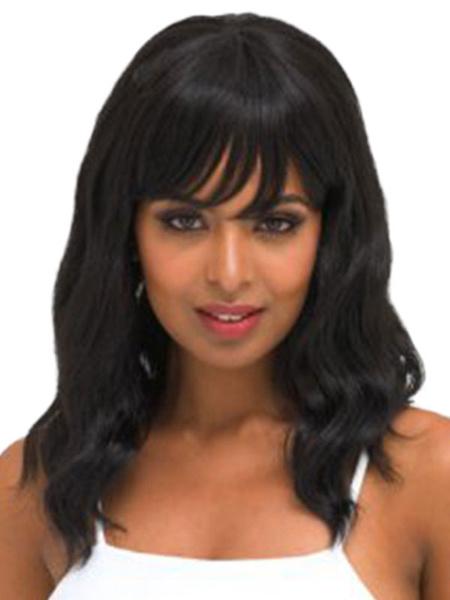 Milanoo Pelucas de cabello humano negras de pelo rizo estilo moderno 18 inches