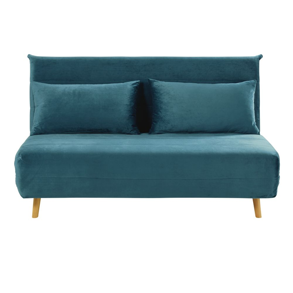 Ausklappbare 2-Sitzer-Bettbank aus Samt, petrolblau Nio