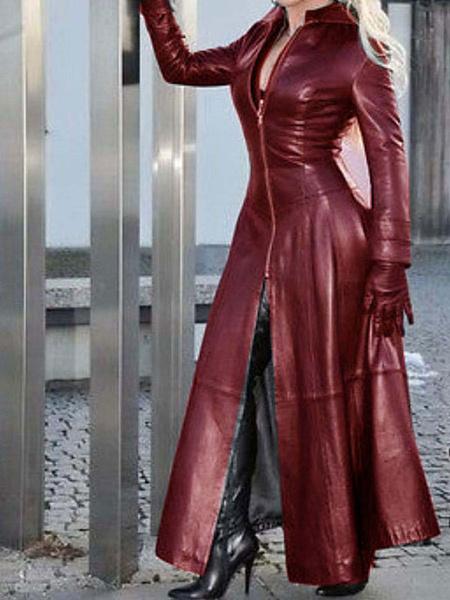 Milanoo Abrigo de mujer Negro Cuero de PU Cuello alto Mangas largas Cremallera Prendas de abrigo de invierno de lana