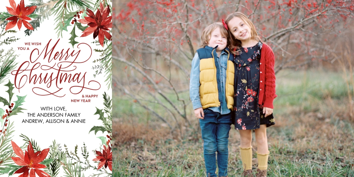 Christmas Photo Cards Flat Glossy Photo Paper Cards with Envelopes, 4x8, Card & Stationery -Christmas Red Poinsettia Memories by Tumbalina