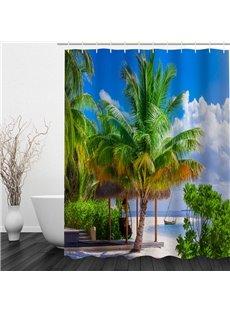 Green Coconut Tree 3D Printed Bathroom Waterproof Shower Curtain