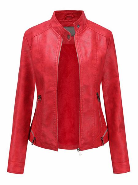 Milanoo Women Short Jackets Black Stand Collar Long Sleeve Zip Up PU Leather Jacket