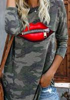 Camouflage Zipper Lips Blouse