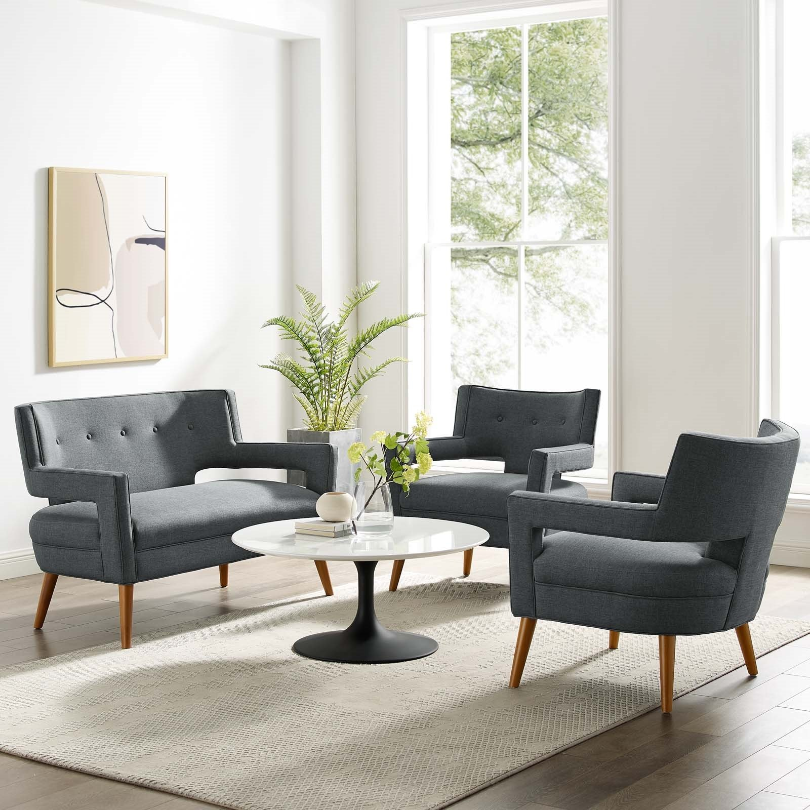 Sheer 3 Piece Upholstered Fabric Set in Gray