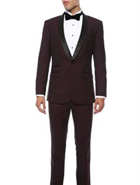 Mens Slim Fit 1 Button Shawl Collar Dinner Jacket Blazer
