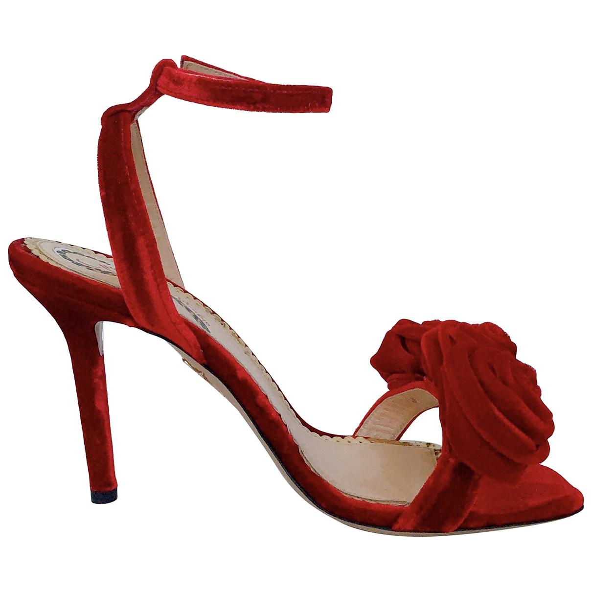 Charlotte Olympia \N Red Velvet Sandals for Women 38 EU