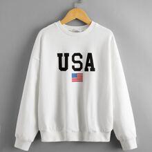 Pullover mit Buchstaben & Flagge Muster
