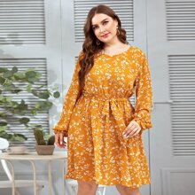 Plus Floral Print Flounce Sleeve Belted Dress