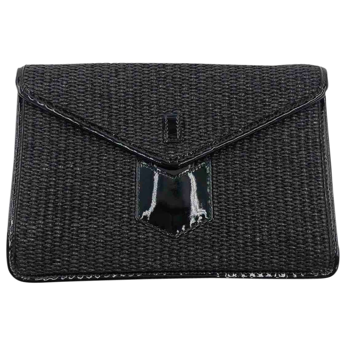 Yves Saint Laurent \N Clutch in  Schwarz Stroh
