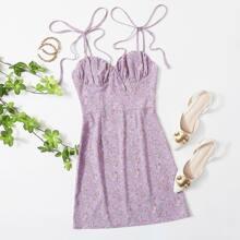 Knot Shoulder Ruched Bust Ditsy Floral Dress