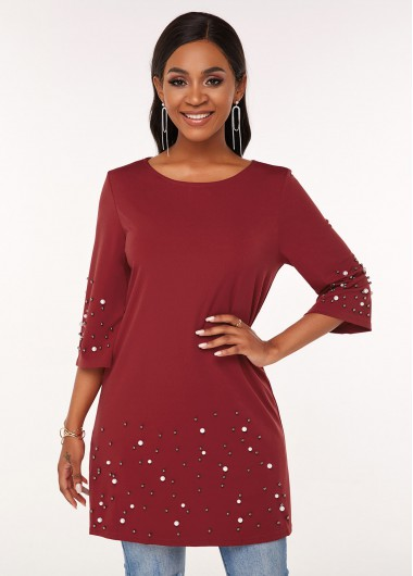 3/4 Sleeve Round Neck Pearl T Shirt - S