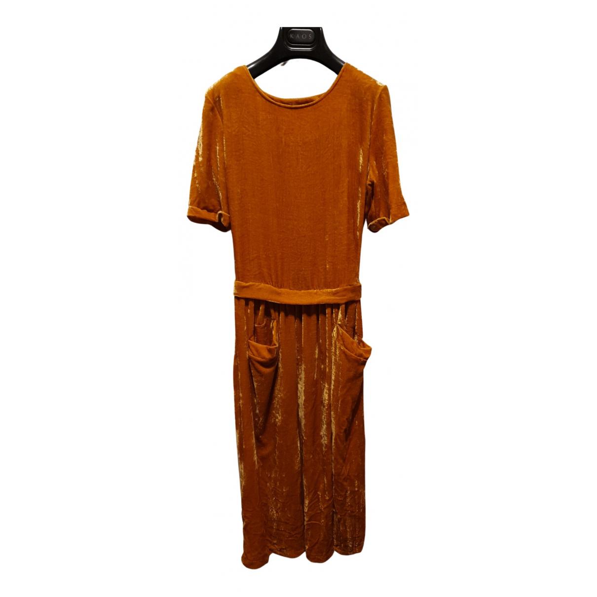 - Robe   pour femme en velours - jaune