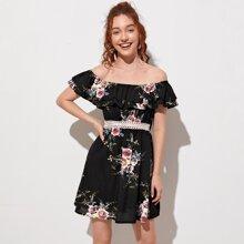 Off Shoulder Floral Print Guipure Lace Trim Dress