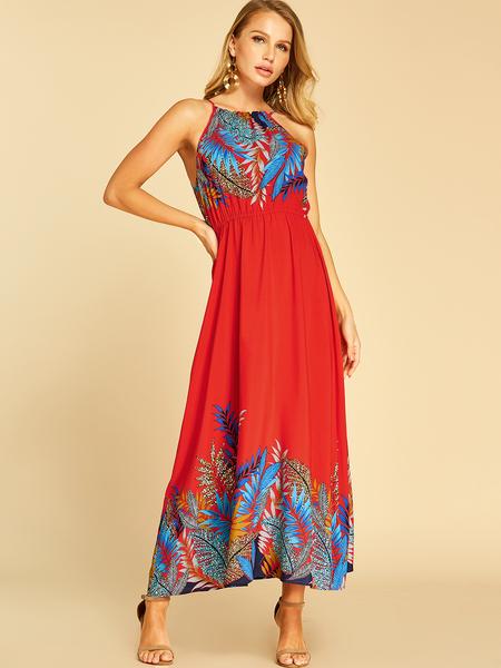 YOINS Red Leaf Printed Halter Sleeveless Dress