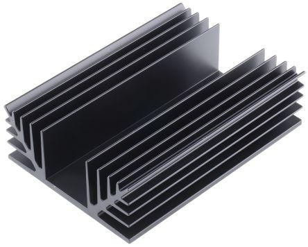 ABL Components Heatsink, Universal Rectangular Alu, 1.25°C/W, 125 x 88 x 35mm, Black