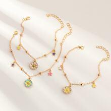 3 Stuecke Maedchen Armband mit Blumen Dekor und Kette