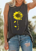 You Are My Sunshine Sunflower Tank - Dark Grey