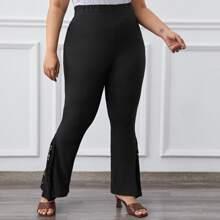 Hose mit Kontrast Spitze und ausgestelltem Beinschnitt