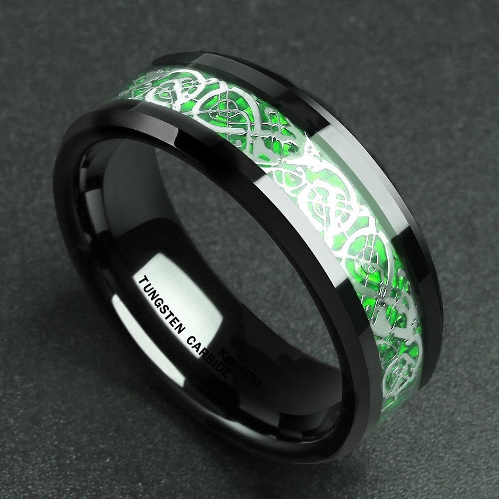 Vintage Finger Rings Solid Carbon Fiber Red Music Symbol Finger Ring EthnicJewelry For Men