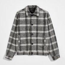 Jacke mit Knopfen vorn und Karo Muster