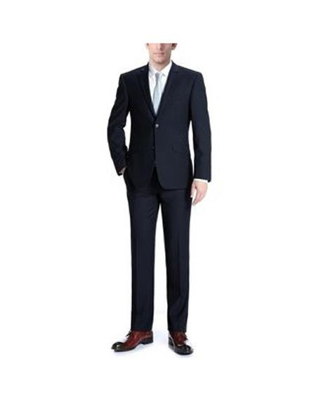 Mens Single breasted Wool Slim Fit 3-Piece Suit In Navy Blue