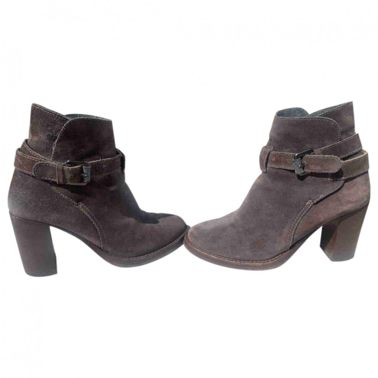 Brunello Cucinelli - Boots   pour femme en suede - gris