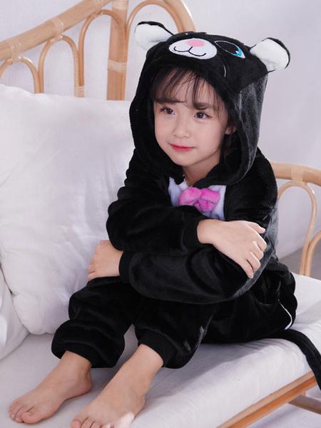 Milanoo Kid\'s Pajama Kigurumi Black Cat Halloween Cosplay Costume