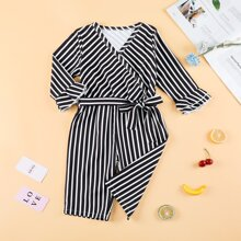 Toddler Girls Striped Flounce Sleeve Belted Jumpsuit