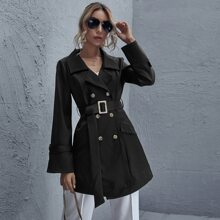 Double Button Buckle Belted Coat