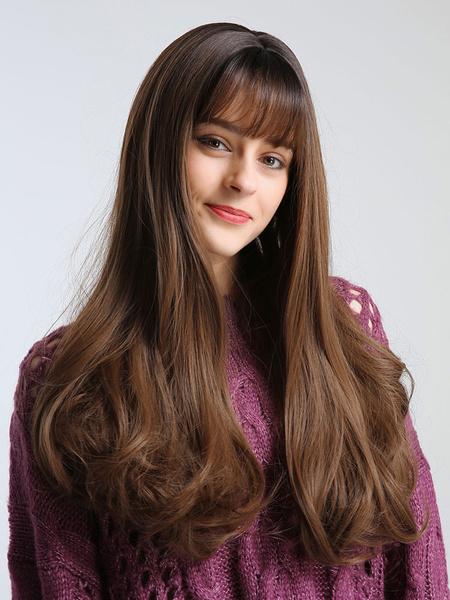 Milanoo Peluca de pelo largo rizado de fibra resistente al calor sintetico pelucas con flequillo