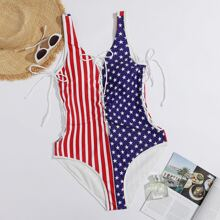 Plus American Flag Print Lace-up One Piece Swimsuit