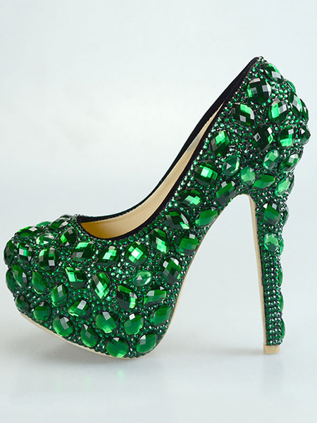 Milanoo Luxury Evening Platforms PU Leather Round Toe Rhinestones High Heel Party Shoes