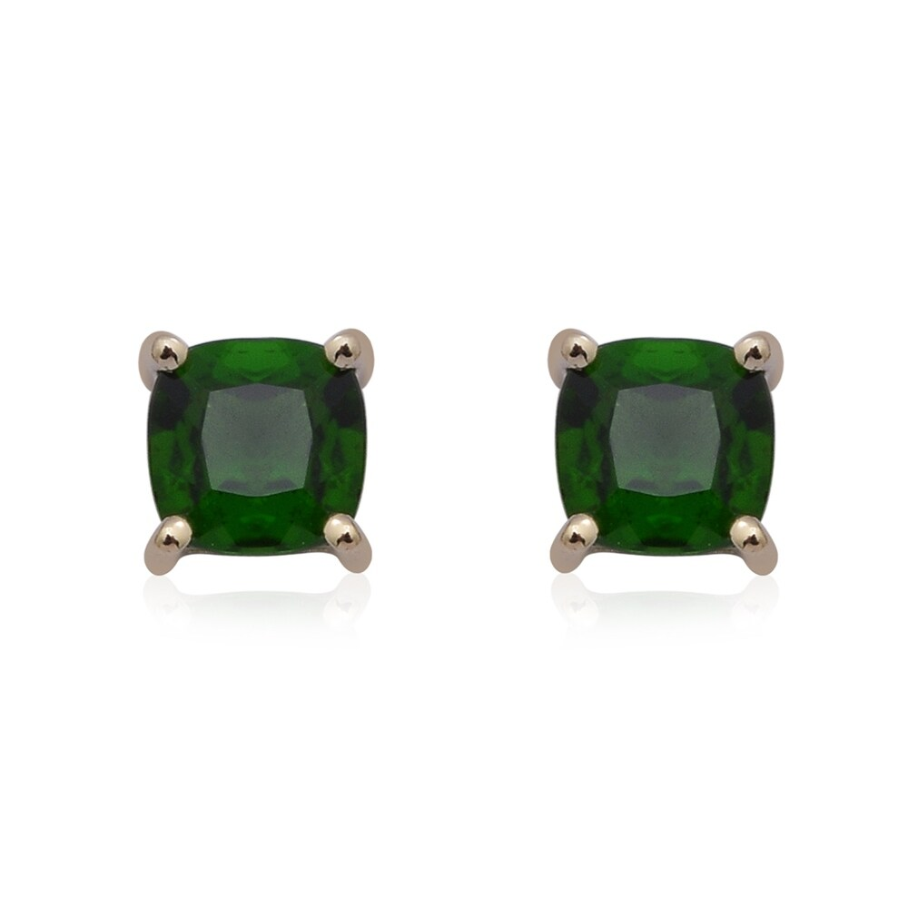 Yellow Gold Chrome Diopside Stud Earrings Ct 2 (Diopside - Yellow - Green - Green)