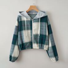 Plaid Zip Up Drawstring Jacket