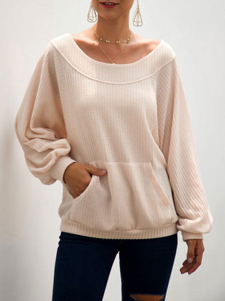 Milanoo Pullovers For Women Apricot Jewel Neck Long Sleeves Sweaters With Pocket