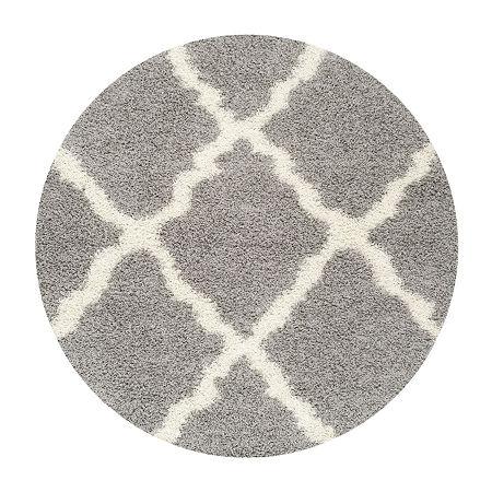 Safavieh Dallas Shag Collection Caris Geometric Round Area Rug, One Size , Multiple Colors
