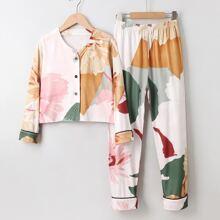 Homewear de Niñas Boton delantero Floral Casual